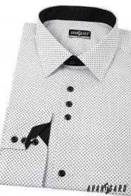 Biała koszula męska SLIM z czarnymi dodatkami długi rękaw