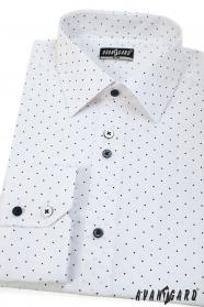 Biała koszula męska SLIM z długim rękawem w niebieskie kropki