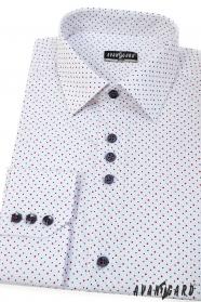 Biała koszula SLIM z niebiesko-czerwonymi kropkami, długi rękaw