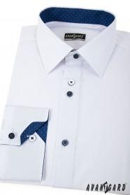 Biała Slim koszula z niebieskimi dodatkami długie rękawy