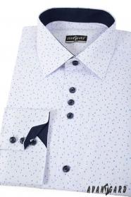 Biała slim koszula z niebieskim wzorem długie rękawy