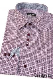 Wzorzysta slim koszula z długim rękawem w kolorze bordowym