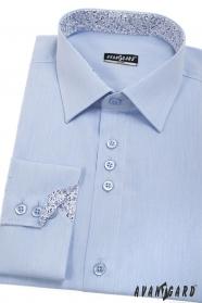 Niebieska męska koszula slim z wewnętrznym wzorem, długie rękawy