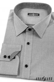 Szara męska koszula slim od wewnątrz w kratkę