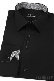 Czarna slim koszula męska z długim rękawem