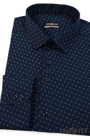 Koszula męska SLIM ciemnoniebieska ze wzorem
