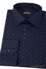 Ciemnoniebieska slim koszula z podwójnymi przecinkami długi rękaw