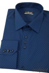 Niebieska slim koszula męska z długimi rękawami w cienkie kropki