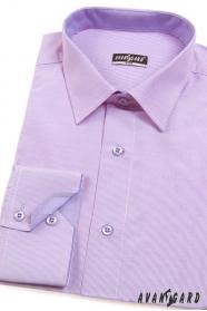 Wąska, liliowa koszula o drobnej fakturze