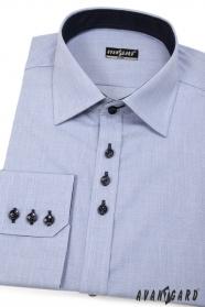 Koszula męska SLIM niebieska z ciemnymi guzikami