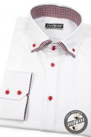 Biała koszula SLIM z długim rękawem, czerwone guziki