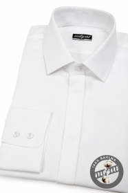 Koszula męska SLIM z zakrytą klapą Biała