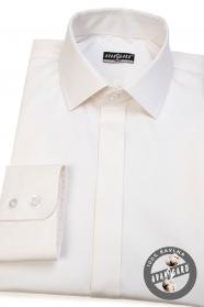 Kremowa koszula męska SLIM z klapką