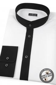 Biała męska koszula Slim fit ze stójką w kolorze czarnym