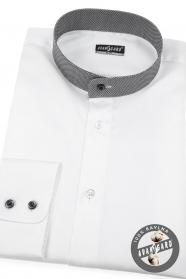 Biała Slim fit koszula męska ze stójką w kratkę