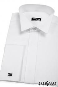 Biała koszula smokingowa SLIM z francuskim mankietem