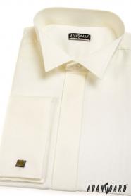 Koszula męska SLIM Francuski mankiet Kremowy kolor