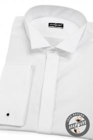 Gładka biała koszula smokingowa SLIM na spinki do mankietów