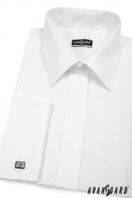 Koszula męska SLIM zakryta klapa Biała gładka