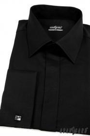 Koszula męska SLIM z zakrytą klapą Czarna