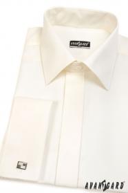 Kremowa męska koszula SLIM z klapą na spinki do mankietów