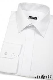 Biała koszula męska SLIM z elegancką zakrytą klapą