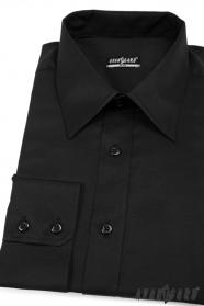 Męska koszula SLIM czarna gładka bawełna
