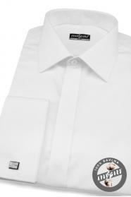 Koszula męska SLIM biała gładka z połyskiem