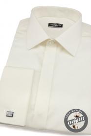Koszula męska SLIM kremowa z połyskiem