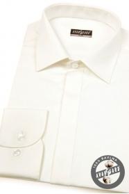 Koszula męska SLIM kremowo gładka z połyskiem