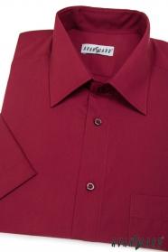 Męska klasyczna koszula z krótkim rękawem Bordo