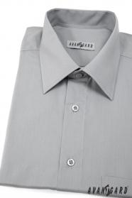Szara męska koszula z krótkim rękawem