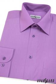 Męska klasyczna koszula z długim rękawem w kolorze fioletowym