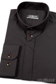 Czarna koszula męska ze stójką na guziki
