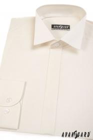 Koszula smokingowa z zakrytą klapą w kremowym kolorze