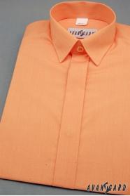 Pomarańczowa koszula dla chłopca z krytą klapą