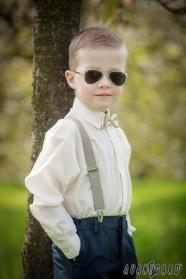 Kremowa koszula chłopięca z krytą klapą