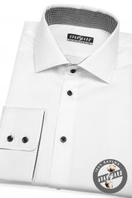 Biała męska koszula w klasycznym stylu z czarnymi guzikami