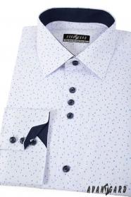 Biała koszula z niebieskim wzorem długie rękawy