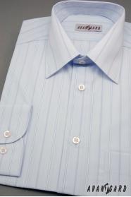 Niebieska koszula męska w szerokie paski