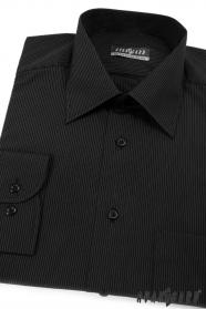 Czarna koszula męska z delikatnym paskiem