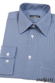 Niebieska koszula męska z wąskim białym paskiem