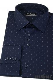 Ciemnoniebieska koszula z podwójnymi przecinkami, długim rękawem