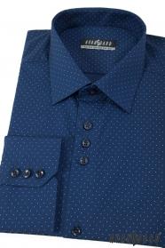 Niebieska koszula męska w groszki z długim rękawem