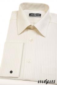 Koszula ślubna na spinki do mankietów, kremowe z paskiem