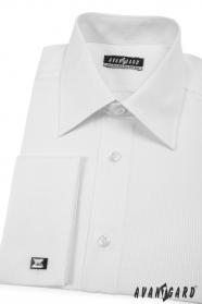 Koszula CLASSIC na spinki do mankietów, biała z delikatnym paskiem