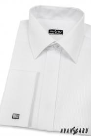 Koszula męska SLIM biała z błyszczącym paskiem