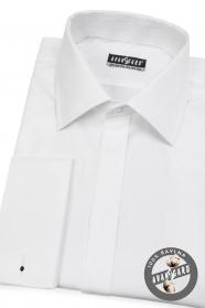 Biała koszula męska z ukośnymi paskami na spinki do mankietów