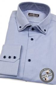Niebieska męska koszula w kratę w środku