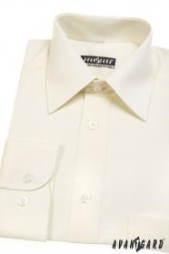 Klasyczna kremowa koszula ślubna z długim rękawem
